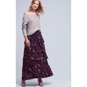 Anthropologie | MAEVE Botanica Tiered Maxi Skirt